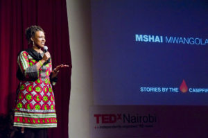 Mshai during a TEDx session here in Nairobi
