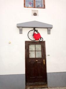 Red Underwear above a doorway